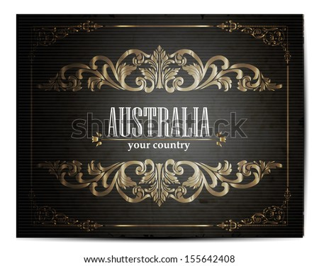 Vintage Touristic Greeting Card -Australia- Vector  - stock vector