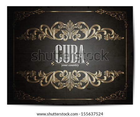 Vintage Touristic Greeting Card -Cuba- Vector EPS10.  - stock vector