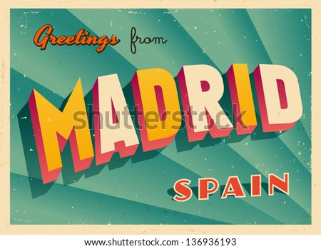 Vintage touristic greeting card madrid spain stock vector 136936193 vintage touristic greeting card madrid spain vector eps10 grunge effects can be m4hsunfo