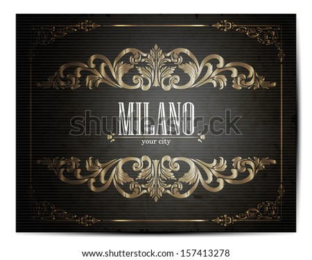 Vintage Touristic Greeting Card -Milano- Vector  - stock vector
