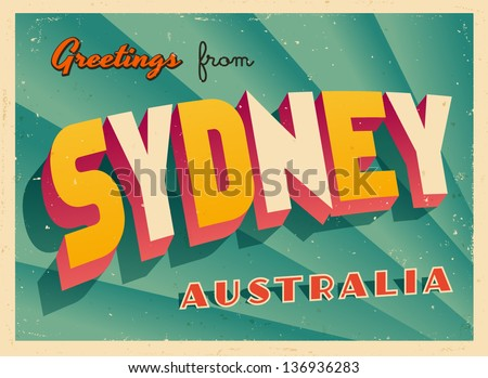 Vintage touristic greeting card sydney australia stock vector vintage touristic greeting card sydney australia vector eps10 grunge effects can be m4hsunfo