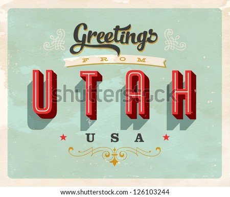 Vintage Touristic Greeting Card - Vector EPS10. Grunge effects can be easily removed for a brand new, clean sign. - stock vector