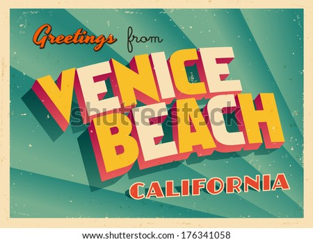 Vintage Touristic Greeting Card - Venice Beach, California - Vector EPS10. Grunge effects can be easily removed for a brand new, clean sign. - stock vector
