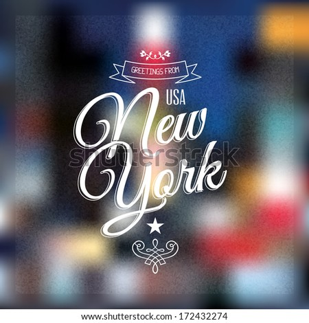 "Vintage Touristic Greeting label, Retro Typographical background ""Greetings from New York"", Vector design.  - stock vector"