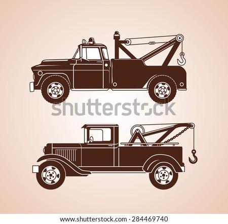 Vintage Tow Trucks - stock vector
