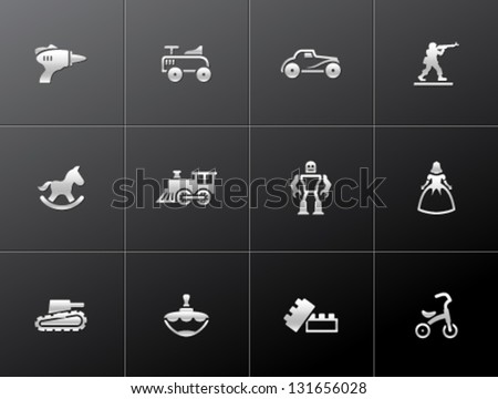 Vintage toy icons in metallic style - stock vector