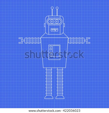 Vintage toy robot toy robot on stock vector 422036023 shutterstock vintage toy robot toy robot on graph paper vector blueprint malvernweather Image collections