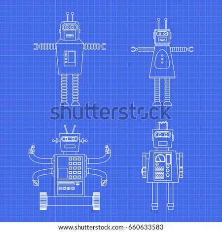 Vintage toy robots blueprint vector set stock vector 2018 vintage toy robots in blueprint vector set of different cartoon robots design for kids malvernweather Images