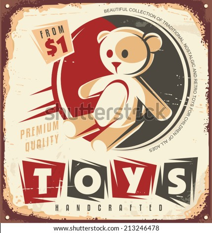 Vintage toy store metal sign design concept. Retro poster design for toy shop. No transparency and no gradients used.  - stock vector