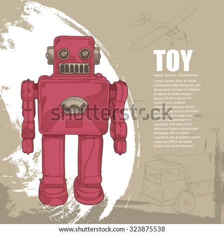 vintage toys background. illustration toys - stock vector