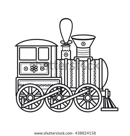 Vintage train. Children's toy. Christmas decorations. Monochrome image. Template for coloring book. Vector icon. - stock vector