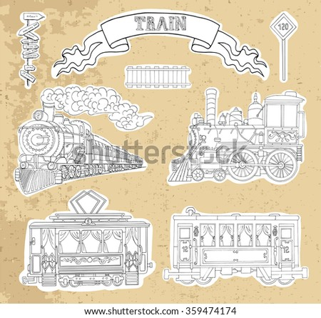 Vintage train, locomotive, wagon and tram set on texture background. Doodle line art illustrations with hand drawn design elements - stock vector