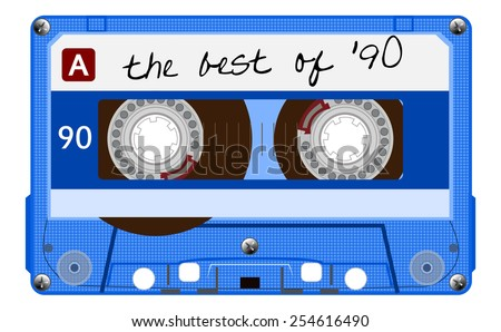 Vintage transparent audio cassette. Blue music cassette tape with text - the best of 90, old technology, realistic retro design. vector art image illustration, isolated on white background, eps10 - stock vector