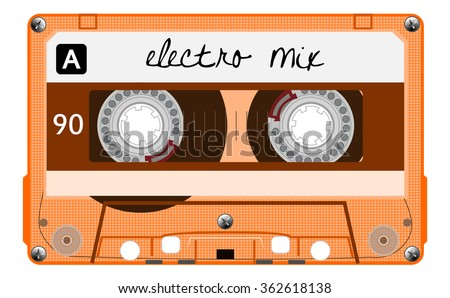 Vintage transparent audio cassette. Orange music cassette tape with text - electro mix, old technology, realistic retro design. vector art image illustration, isolated on white background, eps10 - stock vector