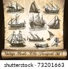 Vintage Transport: Ship,Boats and Vessels with an antique parchment background - stock vector