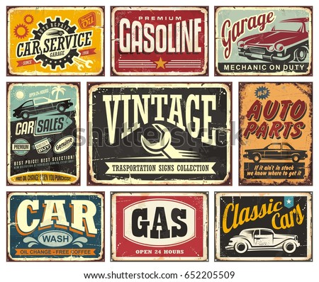 Vintage Transportation Signs Collection For Car Service Auto Parts Wash Gas Station
