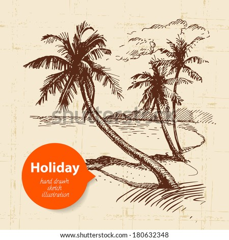 Vintage travel and holiday background. Hand drawn sketch illustration  - stock vector