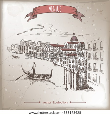 Vintage travel illustration with Grand Canal in Venice, Italy.  Hand drawn sketch. Great for coffee, restaurant, cafe ads, travel brochures, labels. - stock vector