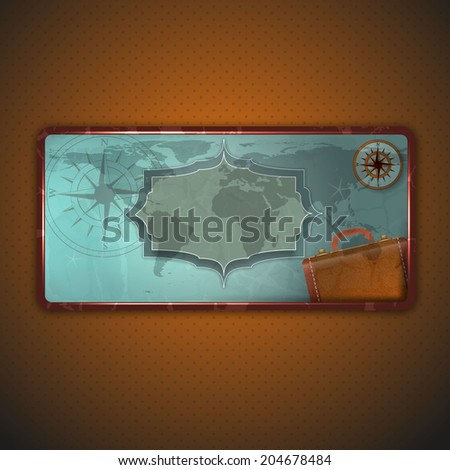 Vintage travel label illusration with old suitcase and compass.  - stock vector