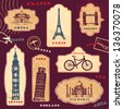 Vintage travel labels with hand drawn elements - stock photo