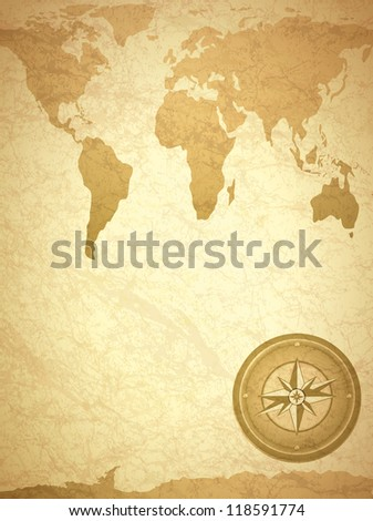 Vintage Travel Paper With Map and Compass - stock vector