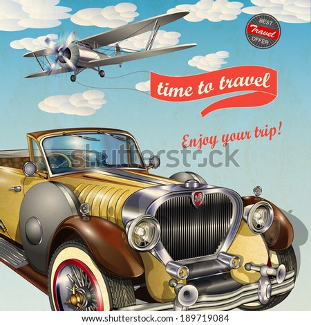 Vintage travel poster - stock vector