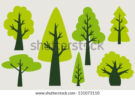 Vintage tree collection - stock vector