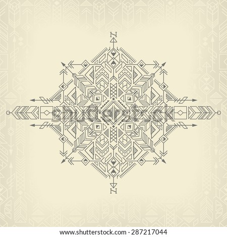 vintage tribal ethnic background, native american motifs - stock vector