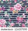 vintage tropical flower pattern with stripe background - stock vector