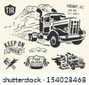 Vintage truck delivery theme on off white background. - stock photo
