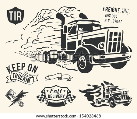Vintage truck delivery theme on off white background. - stock vector