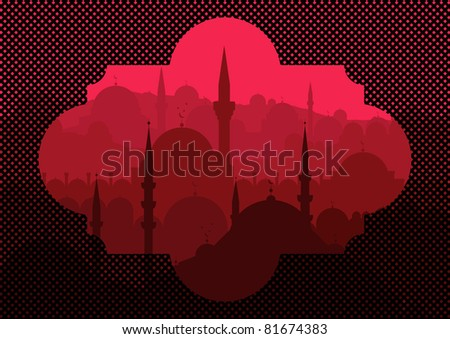 Vintage turkish city Istanbul landscape illustration - stock vector