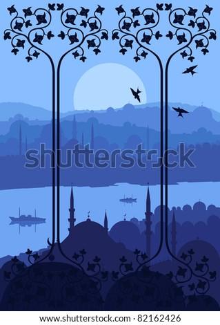 Vintage turkish city Istanbul landscape illustration - stock vector