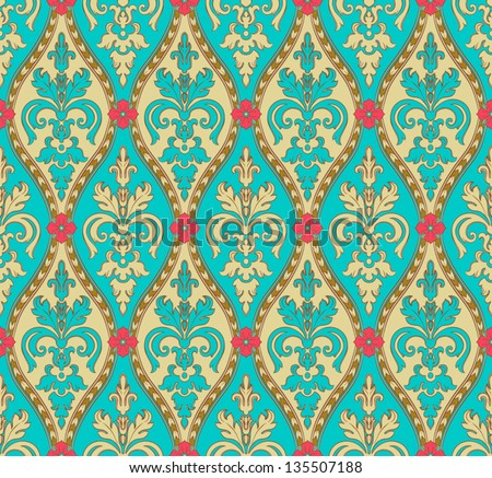 vintage turquoise and gold seamless pattern with pink flowers. vector illustration - stock vector