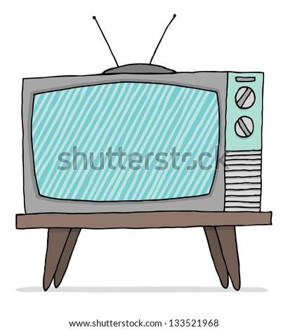 Vintage tv set malfunction - stock vector