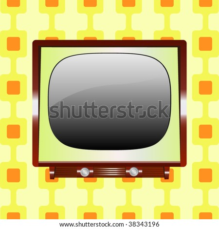 Vintage tv with retro background