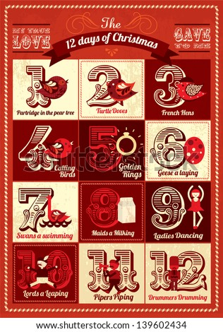 vintage twelve days of christmas calendar template vector/illustration advent calendar - stock vector