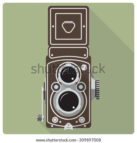 Vintage twin lens reflex camera vector icon. Flat design retro vector icon of vintage medium format camera - stock vector