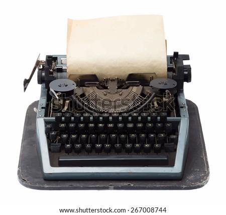 vintage typewriter, vector - stock vector