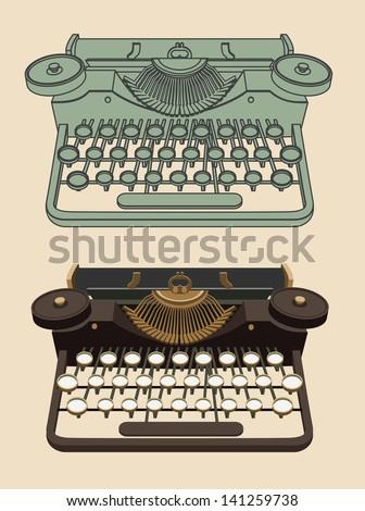 Vintage Typing machine - stock vector