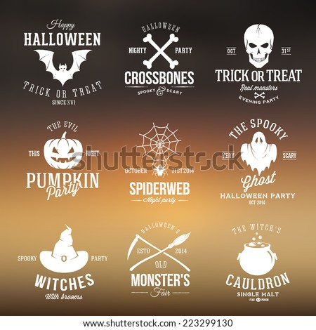 Vintage Typography Halloween Vector Badges or Logos Pumpkin Ghost Scull Bones Bat Spider Web and Witch Hat With Abstract Blurred Background - stock vector