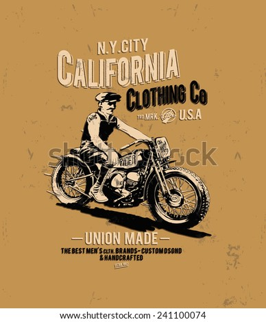 vintage typography with motorcycle racer - stock vector