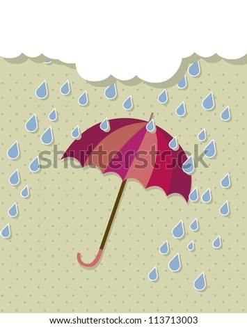 vintage umbrella with rain and cloud. vector illustration
