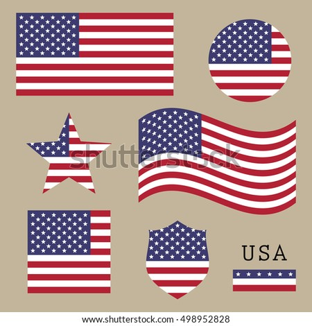 Vintage USA American flag set, isolated on brown background, vector illustration.