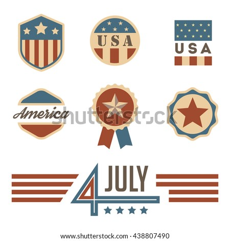 VIntage USA badges set. 4 July. Independence Day.