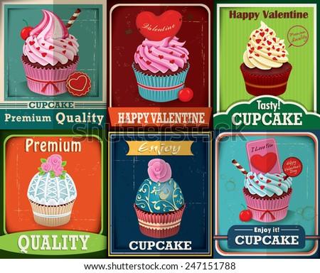 Vintage Valentine cupcake poster design set - stock vector