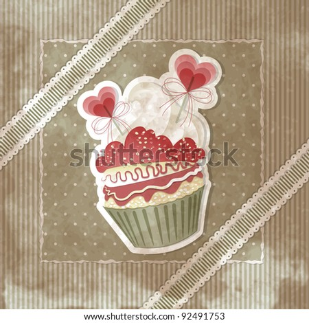 Vintage Valentine's card with cupcake and hearts decorations - stock vector