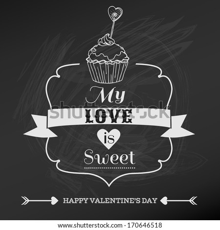 Vintage Valentine's Day Card Design - love, wedding - in vector - stock vector