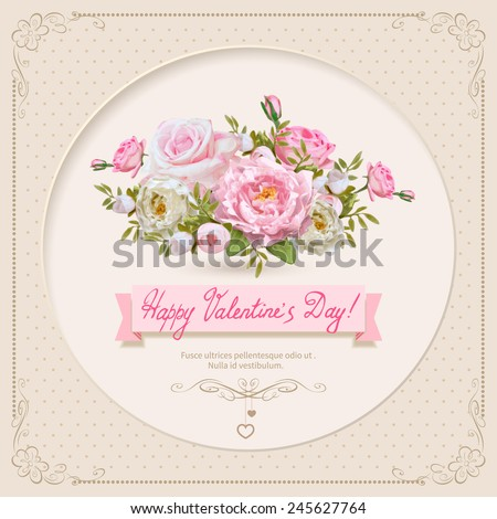 Vintage Valentine's Day Card with Flowers. Vector Illustration. - stock vector
