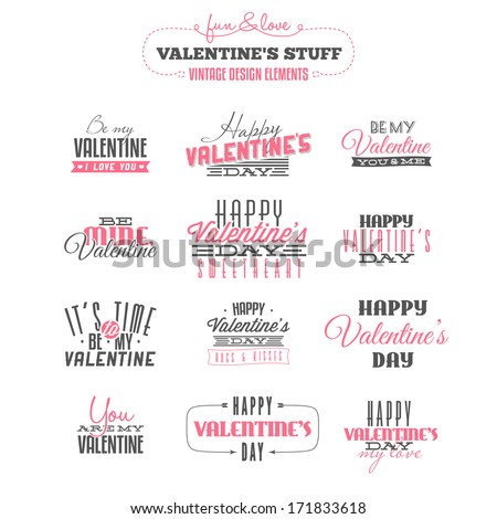 Vintage Valentine's day  design elements. Also available as raster JPG image. - stock vector